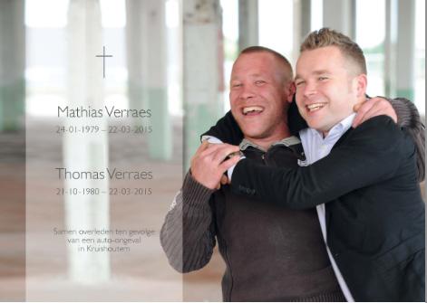 Thomas en Mathias Verraes samen overleden in een auto-ongeluk