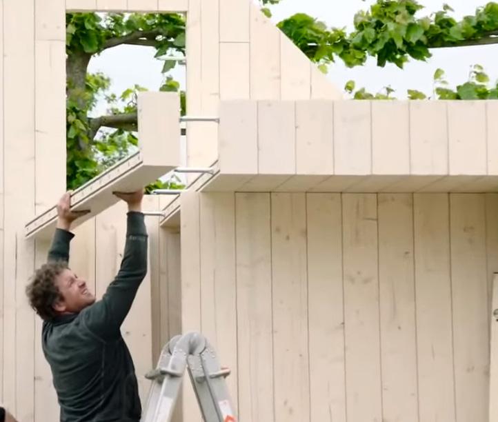 Systimber houtbouw systeem: 2 onderdelen - massief hout en afstandshouder voor skeletbouw