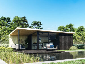 Systimber houten poolhouse met lounge