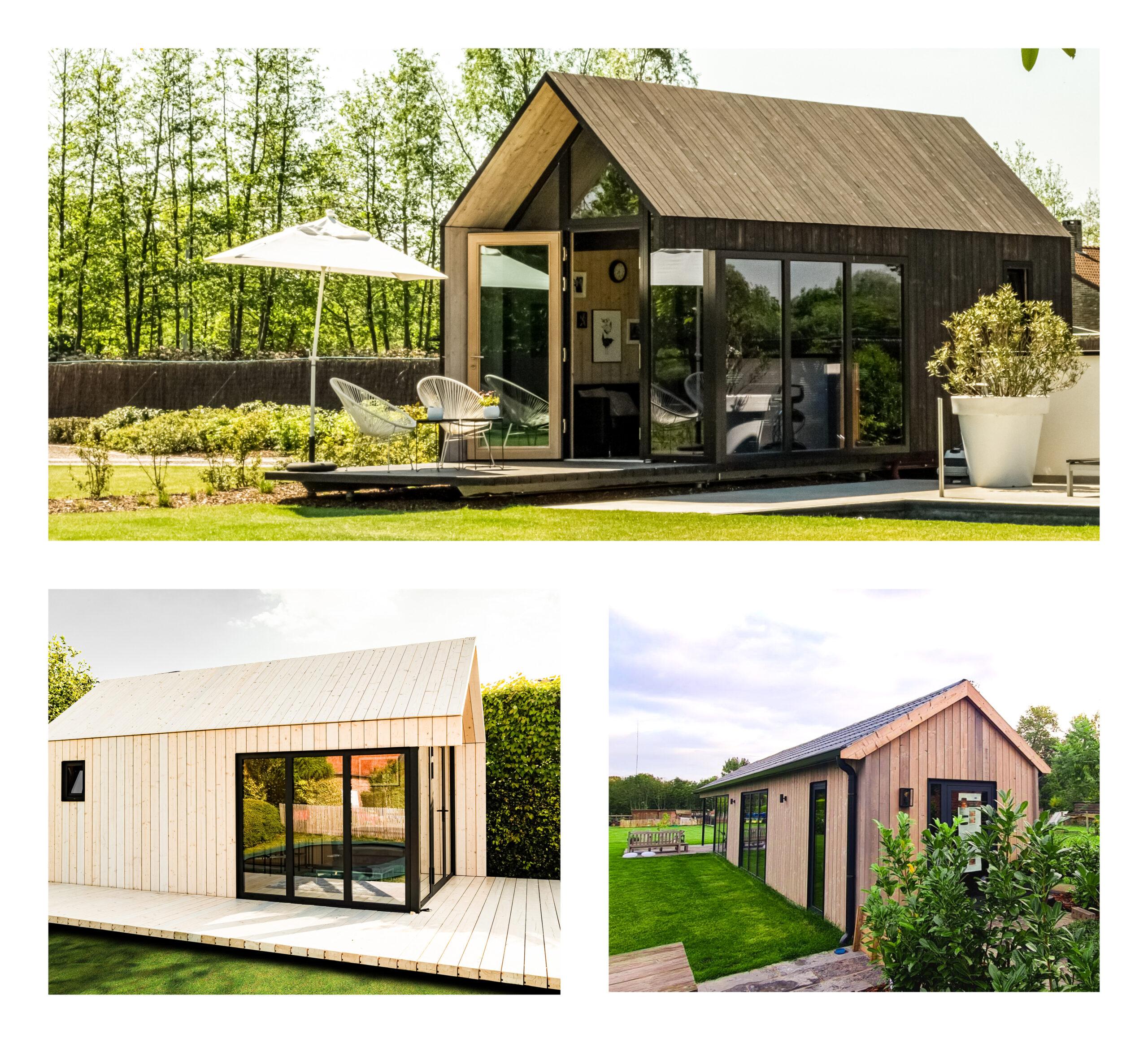 Systimber realisaties tiny houses & tuinkantoren met zadeldak
